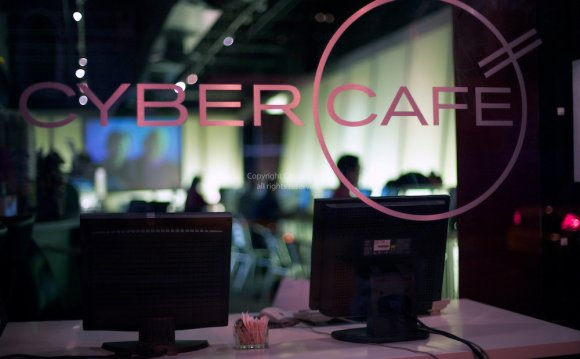 Cyber Cafe or internet cafe on