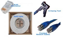 RJ45 + Cat5 cable + Crimping Tool = Network Cable
